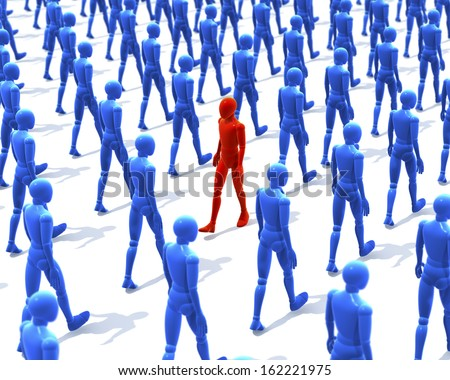 One red man, figure walking contrary to a group, crowd of walking, blue figures, people, 3d rendering on white background - stock photo