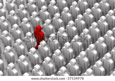 One red man standing out in a large group of white men, 3D