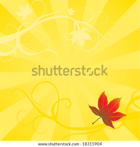 One red maple leaf with detail on a yellow background. Features swirling branches in monotone yellow & orange. Large format permits for a variety of cropping possibilities. - stock photo