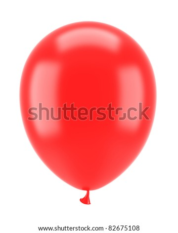 one red party balloon isolated on white background - stock photo