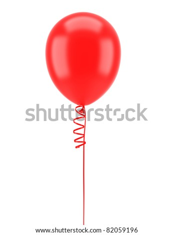 one red party balloon with ribbon isolated on white background - stock photo