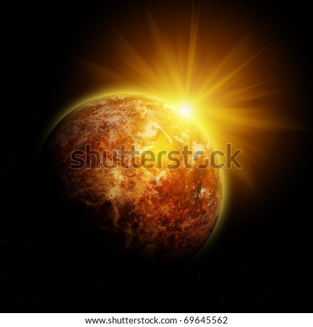One red planet in deep space. Black space with white stars. Yellow Sunset. - stock photo