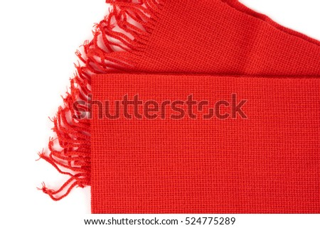 One red scarf isolated on white background