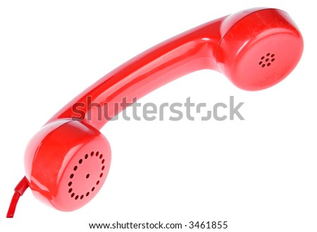 one red telephone a over white background - stock photo
