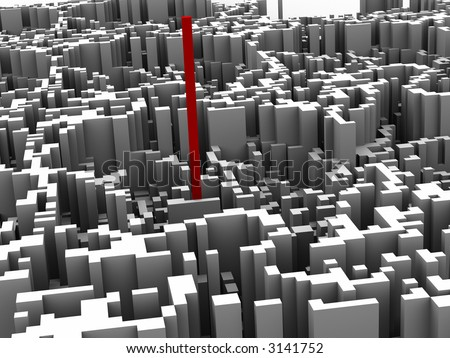 One red unique 3d block chart with other small charts. - stock photo