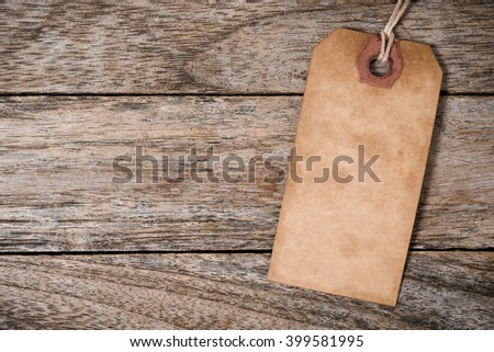 One Right Vintage Paper Label on Wood Background - stock photo