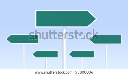 One right way sign -- variations in portfolio - stock photo