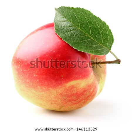 One ripe apple with leaf - stock photo