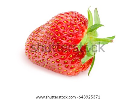 One ripe fresh berry of the garden strawberry closeup on a light background