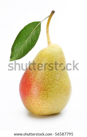 One ripe pear with a leaf. Isolated on a white background. - stock photo