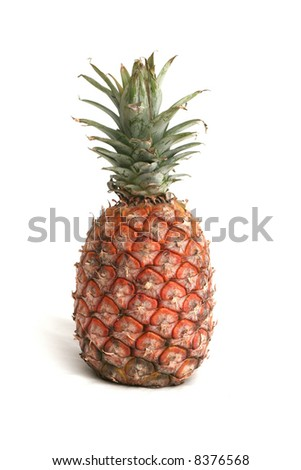 One ripe pineapple on a white background
