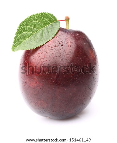 One ripe plum with leaf - stock photo