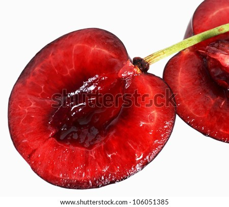one ripe red cherry on white background - stock photo