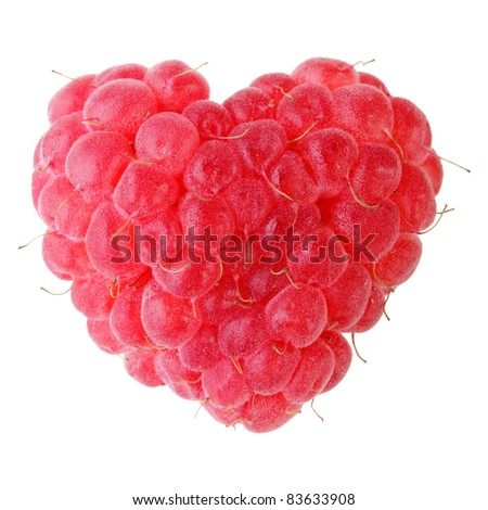 one ripe red heart-shaped raspberry over white backgroung - stock photo