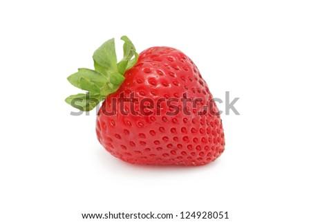 One ripe strawberry isolated on white background - stock photo