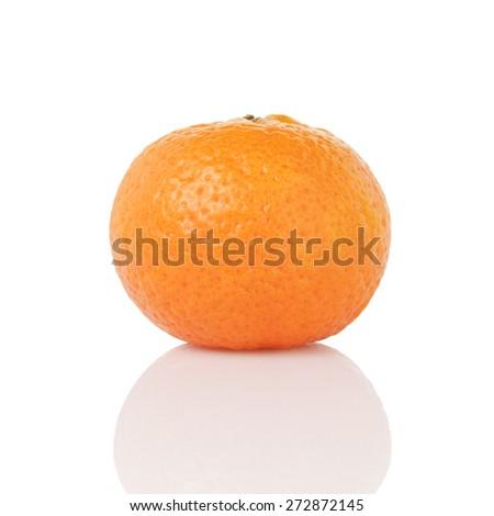 one ripe tangerines isolated on white - stock photo