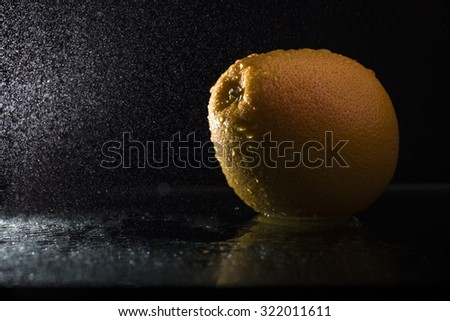 One ripe tasty beautiful seasoning citrus fruit of wet orange with water spray lying in studio on black background, horizontal picture - stock photo