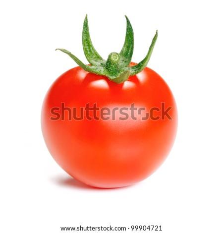 One ripe tomato isolated on white background. - stock photo