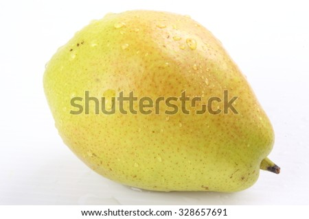 One ripe yellow pear isolated on white background