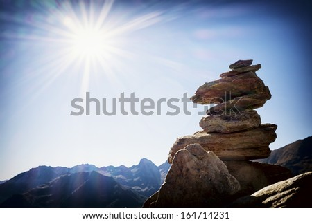 one rock stack - close up - stock photo