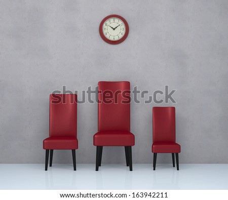 one room with three leather chairs in different sizes and a big wall clock (3d render)