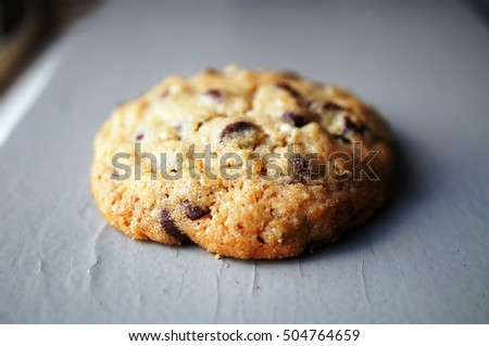 One round homemade chocolate chip cookie