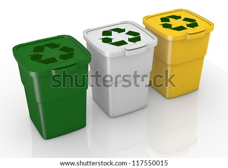 one row of three recycling bins in different colours (3d render) - stock photo