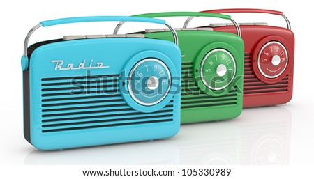 one row of three vintage radios in different colors (3d render) - stock photo