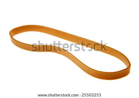 One rubber band isolated on plain white background - stock photo
