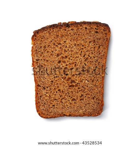 One rye toast on white background. The file includes a clipping path.  Professionally retouched high quality image.