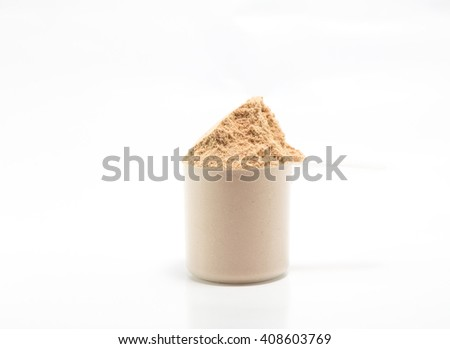 One scoop of concentrate chocolate whey protein on white background - stock photo
