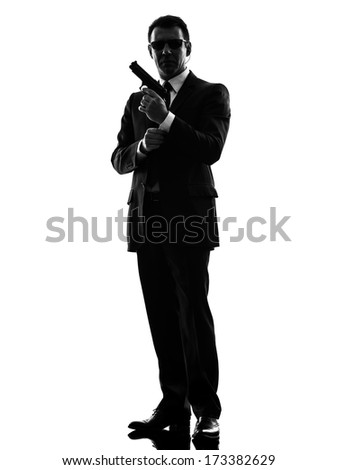 one secret service security bodyguard agent  man in silhouette  on white background - stock photo