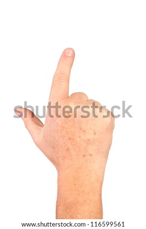 One senior hand with freckles show forefinger, point gesture, isolated - stock photo