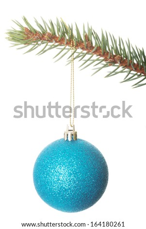 One separated christmas ball handing on a fir. Isolated on white.  - stock photo