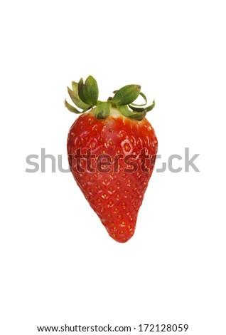 One separated fresh strawberry. Isolated on white. - stock photo