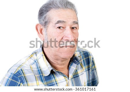 One serious mature male with mustache wearing blue and yellow striped flannel shirt over white background