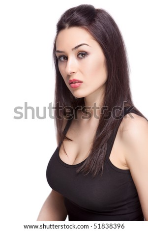 One sexy feminine woman isolated on white background