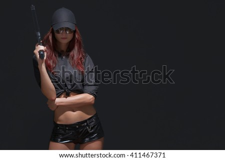 One sexy girl guard with gun