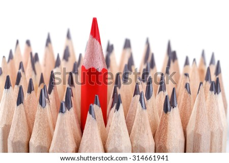 One sharpened red pencil among many ones - stock photo