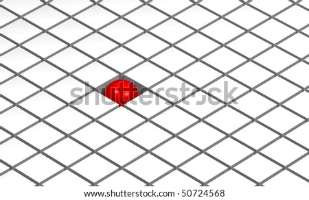 One shiny red ball among many white squares - stock photo