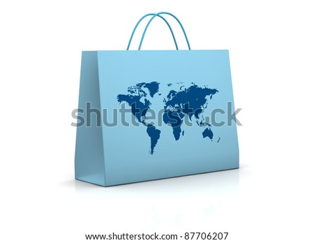 one shopping bag mapped with the world map (3d render) - stock photo