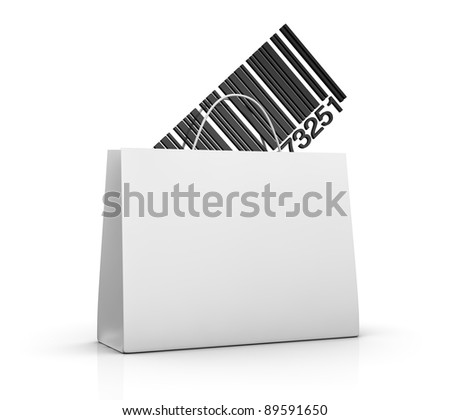 one shopping bag with a barcode (3d render)