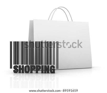 one shopping bag with a barcode (3d render) - stock photo