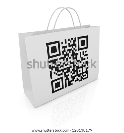 one shopping bag with a qr code printed on a side (3d render) - stock photo