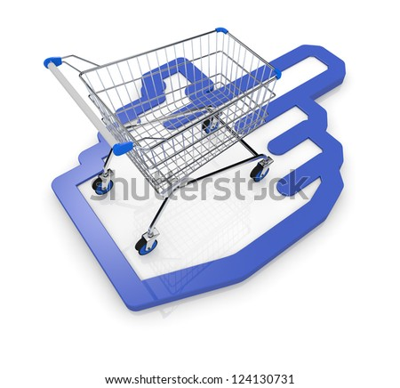 one shopping cart with a hand cursor icon (3d render)
