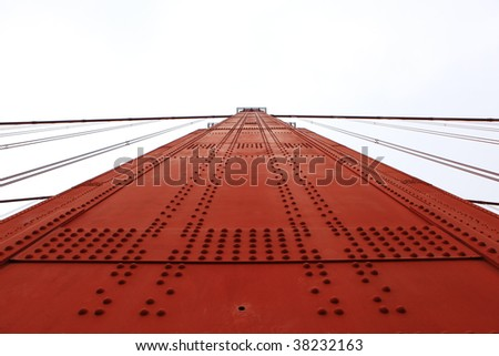 One side of the Golden Gate tower in San Francisco isolated on white - stock photo