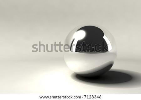 one silver chrome ball - stock photo