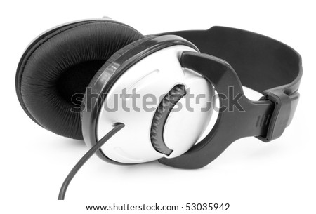 One silver headphones isolated on white background