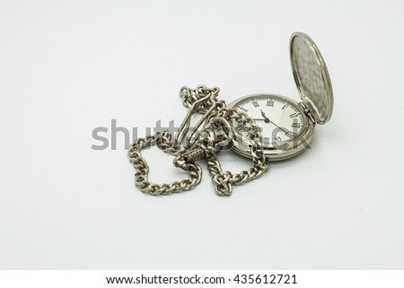 one silver pocket watch with single chain - stock photo