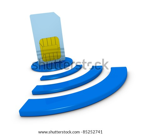 one sim card with the wireless symbol (3d render) - stock photo